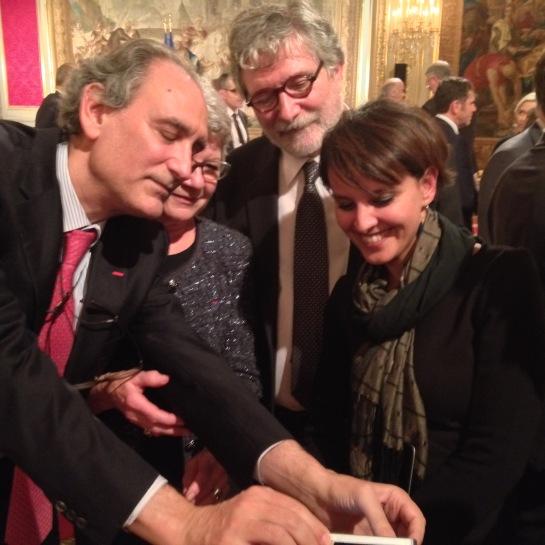 Jean-Loup Salzmann (Président de la CPU), Dominique Gillot, Najat Vallaud Belkacem (Ministre de l'Education nationale) et Jean-Luc Mayaud (Président de l'Université Lyon 2)